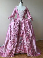 Custom Pink Rococo Marie Antoinette Gown Dress with Lace