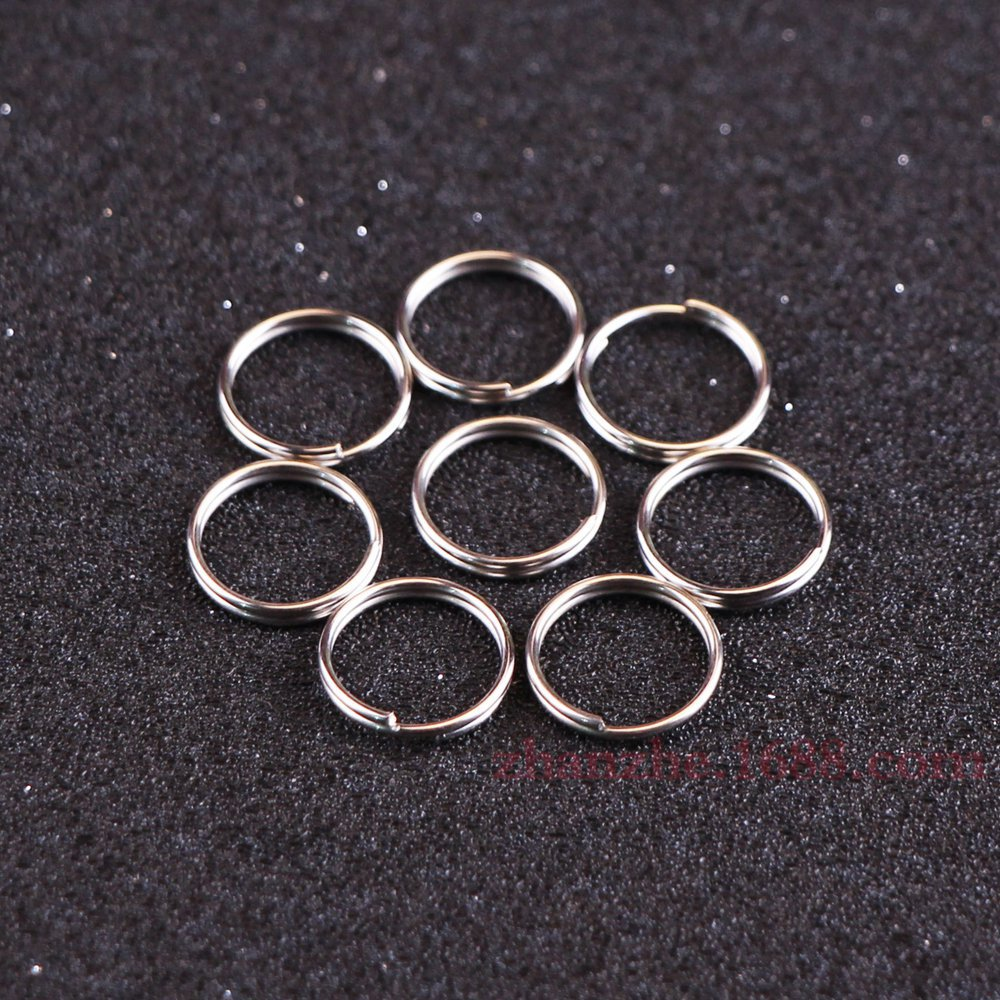 High Quality Nickel Plated 10mm Traveler Metal Key Ring Charm Keychain Hanging Chain Charm Key Chain Ring Accessories 100pcs