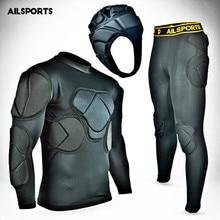 Новые спортивные защитные комплекты, утолщенная Экипировка, футбольный Вратарский Джерси, штаны, футбольный Вратарский Шлем, наколенник, мягкий протектор