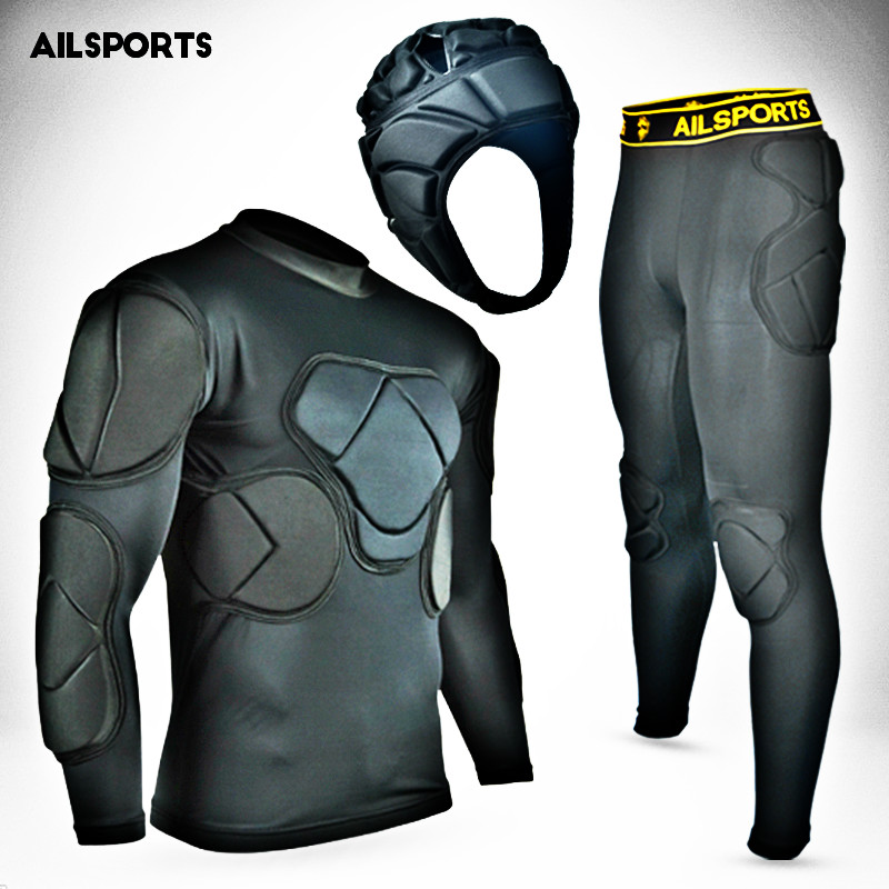 New Sports Safety Protection Kits Thicken Gear Soccer Goalkeeper Jersey Pants Football Goalie Helmet Knee Elbow Padded Protector цена