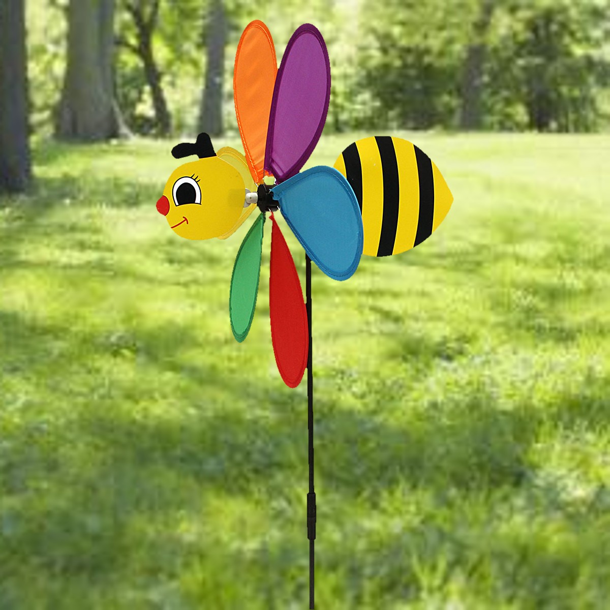 1Pc Animal Bee Windmill Wind Spinner Whirligig Garden Lawn Camping  Decorative Crafts Accessories Kids Outdoor Toys