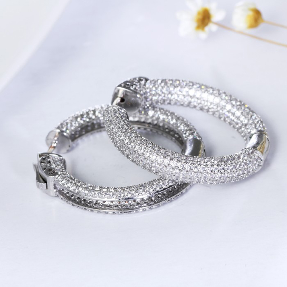 New Arrival Luxury Circle Hoop Earring High Quality Cubic Zirconia Brinco  De Argola Gold And White