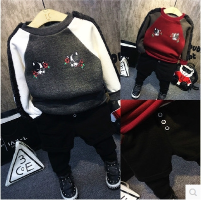 Korean children in the winter of 2016 new boys hit the color mosaic lovely printing cashmere T-shirt thickening free shipping