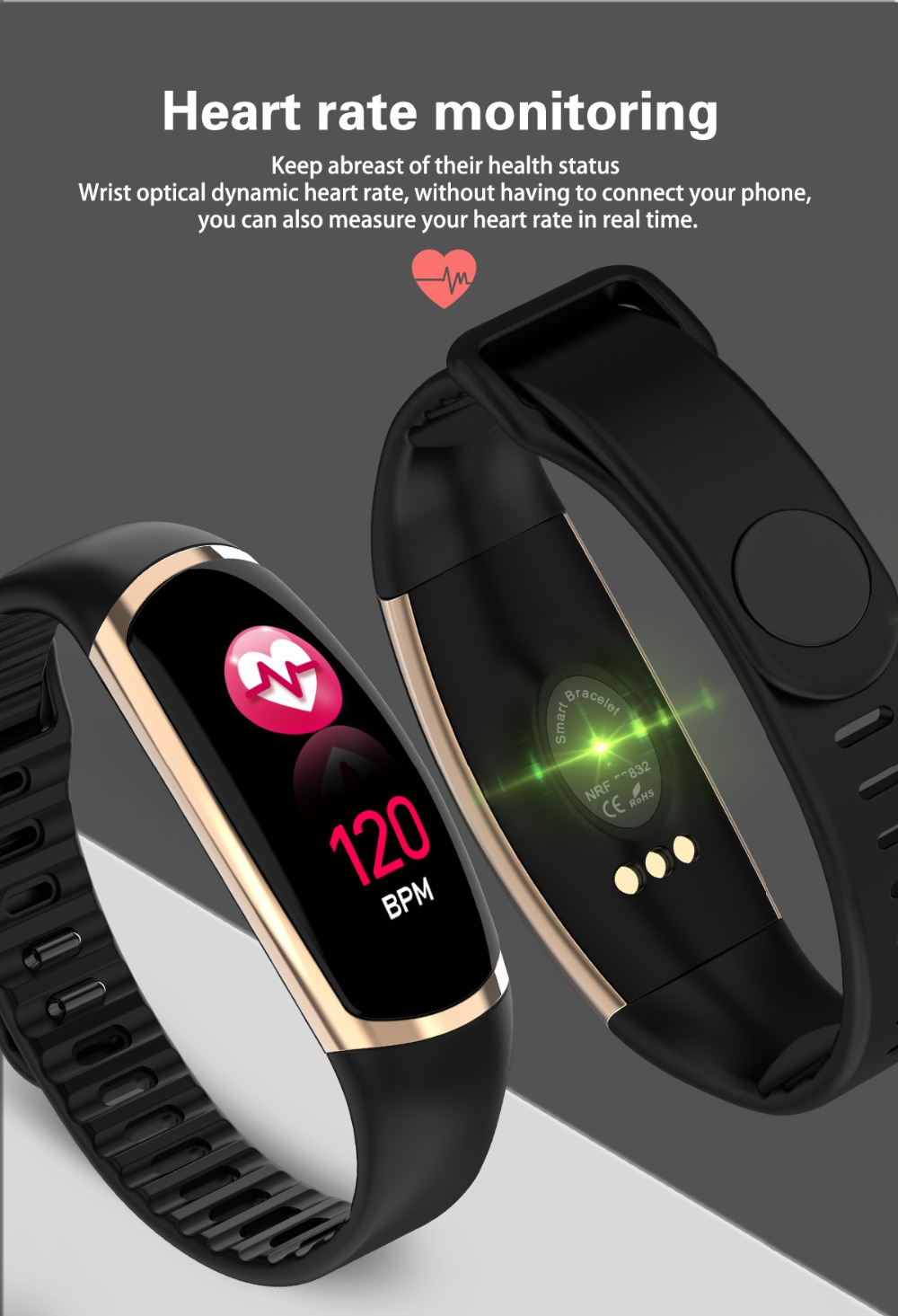 US $18 27 37% OFF|Smart Bracelet R16 Android IOS Heart Rate Band Sleep  Monitor Blood Pressure Fitness Tracker Waterproof Color Screen Sport  Band-in