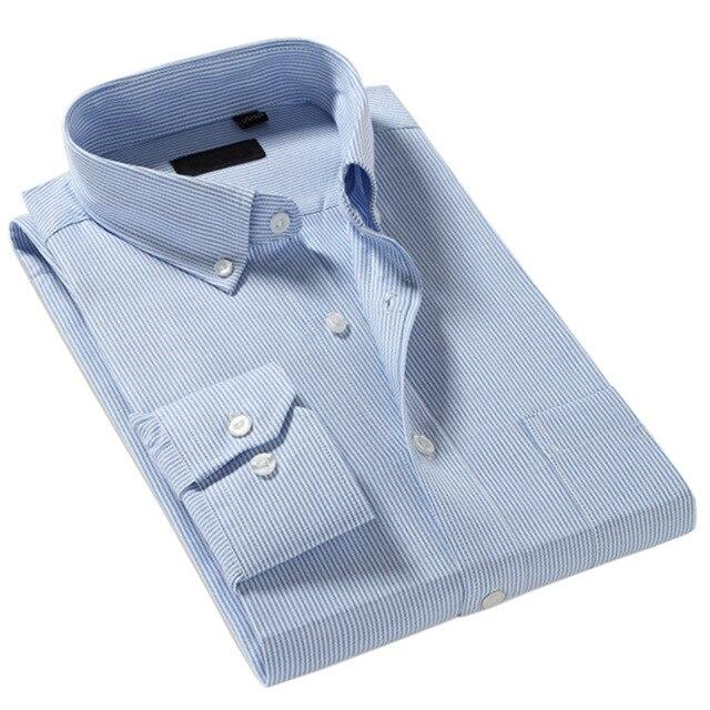Новый 2016 Осень Мужчины Рубашка Классическая Fit Марка Мужчины Бизнес Случайный Полоса Рубашка Одежда Мода С Длинным Рукавом Социальный Рубашка