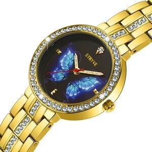 Image 5 - Stryve Neue Designer Damen Uhr Legierung Mode Schmetterling Kristall Zifferblatt Wasserdicht Quarz Luxus Frauen Uhren Mit Freies Armbänder