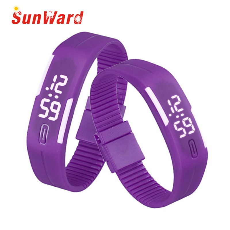 Sunward Relogio Feminino Rubber LED Watch Date Sports Bracelet Digital Wrist Fashion Mens Womens Watches Horloge 2017May10 luxury mens womens rubber sports led