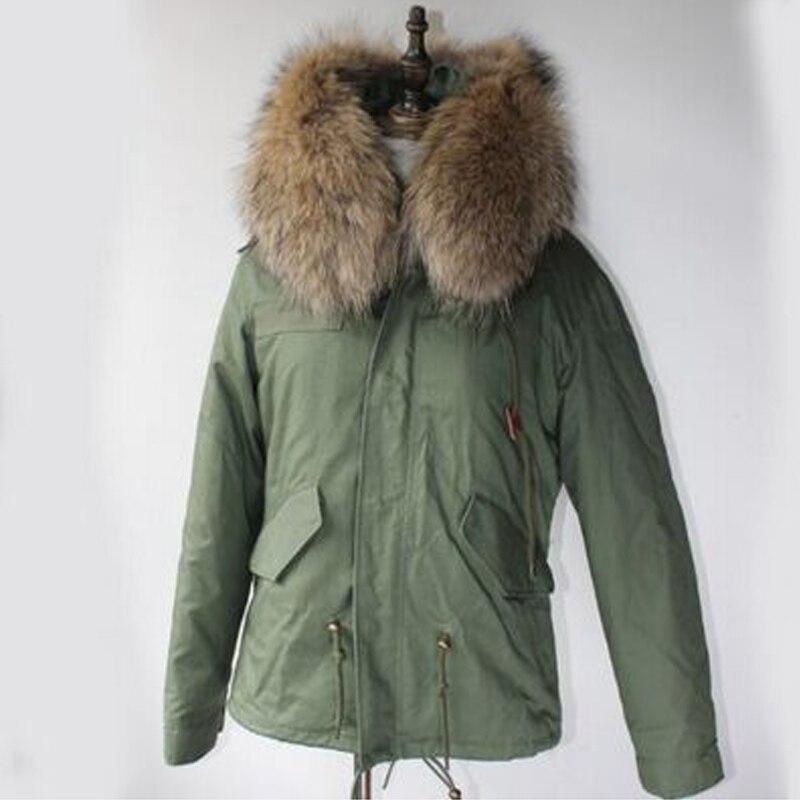 2018 Winter Jacket Women Genuine Luxury Brand Parka Large Raccoon Fur Collar Thicken Warm Fur Liner Outwear Army Green Parkas