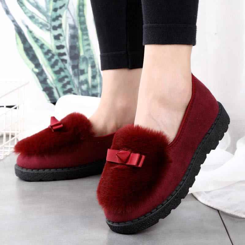 EOEODOIT kadın sonbahar kış kürk ayakkabı düz topuk kayma yuvarlak ayak konfor platformu Flats kar ayakkabıları kayma direnci ilık, hafif sıcak! !!