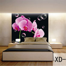 Custom 3D Print Fabric & Textile Wallcoverings For Walls Wall Mural Retro cotton and linen For Living Room European Flower Photo(China)