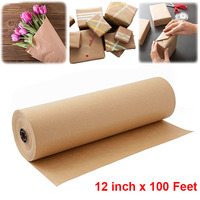 12inch 100 Feet Kraft Paper Roll Recycled Paper for Gift Wrapping, Crafts,Painting, Gifts Packing Paper,Wedding DIY Supplies
