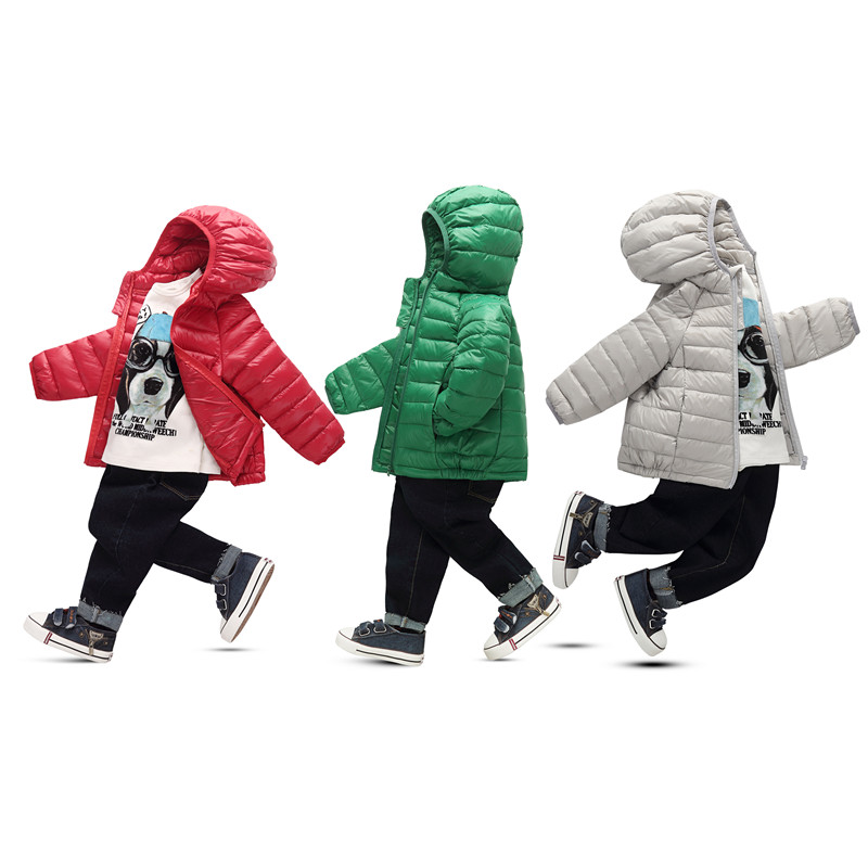 2017 Children Candy Color Warm White Duck Down Jackets Boy And Girl Clothes Kids Sports Hooded Ultralight Soft Down Coat 2-12Y