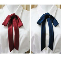 JK Japanese School Uniforms quality satin ribbon bow tie lengthening lead multicolor flower tie