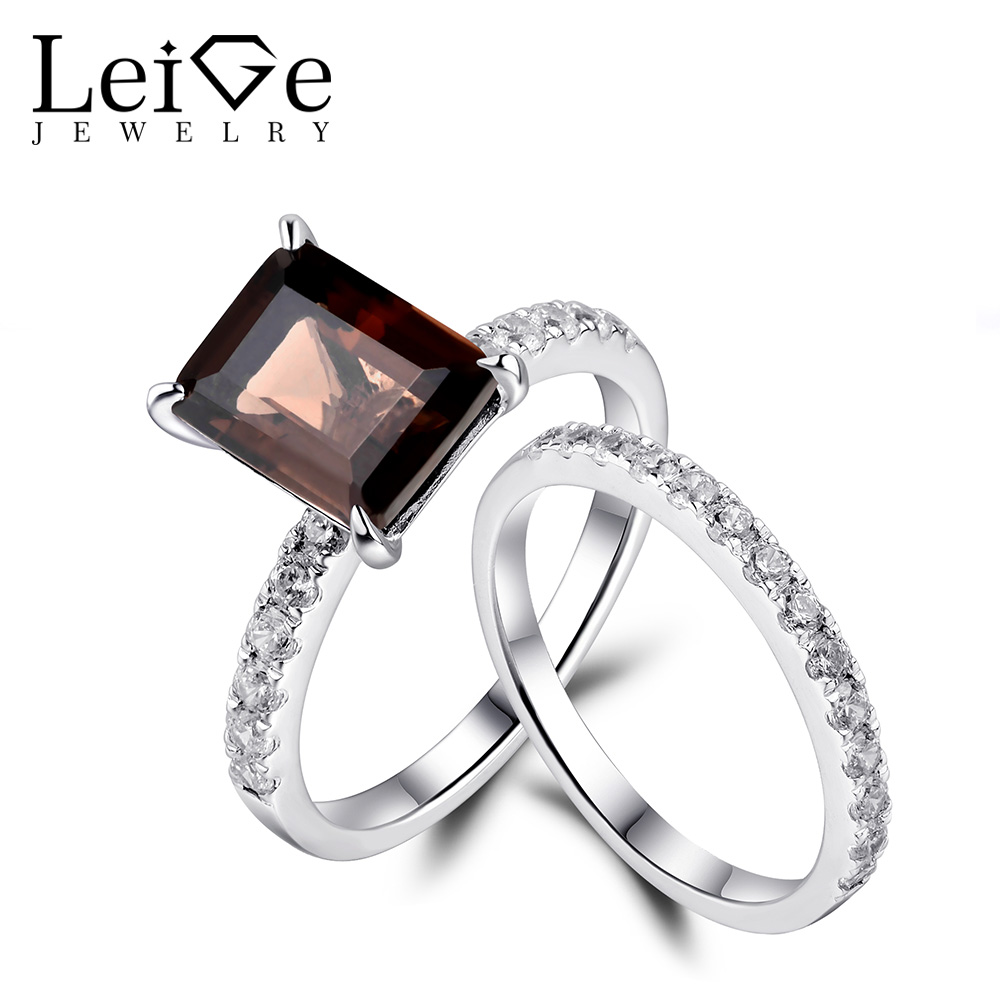 Leige Jewelry Natural Smoky Quartz Rings for Women Engagement Ring Set Sterling Silver 925 Fine Jewelry Emerald Cut Gemstone classic 10 75ct nano russian emerald ring emerald cut solid 925 sterling silver ring set best brand fine jewelry for women