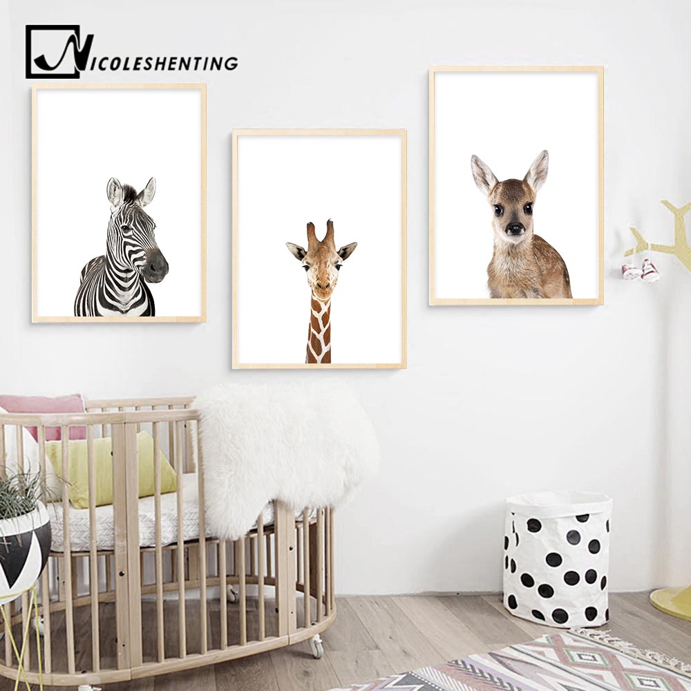 Baby Animal Zebra Girafe Deer Wall Art Canvas Poster Nordic Nursery Prints Painting Picture