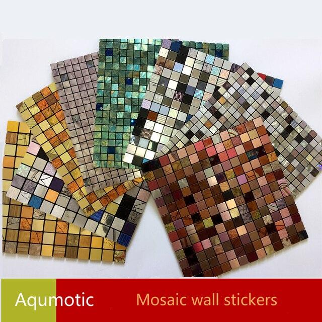 Aqumotic mosa que 3d autocollants mur d cor bricolage - Papier peint mosaique ...