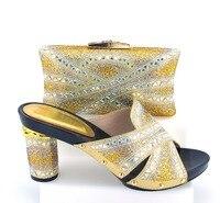 TH221-6 Alta Qualidade Do Casamento Do Ouro Sapatos de Noiva E Saco Definir Venda Quente Mulher Strass Sandálias Sapatos Com Bolsa Frete Grátis