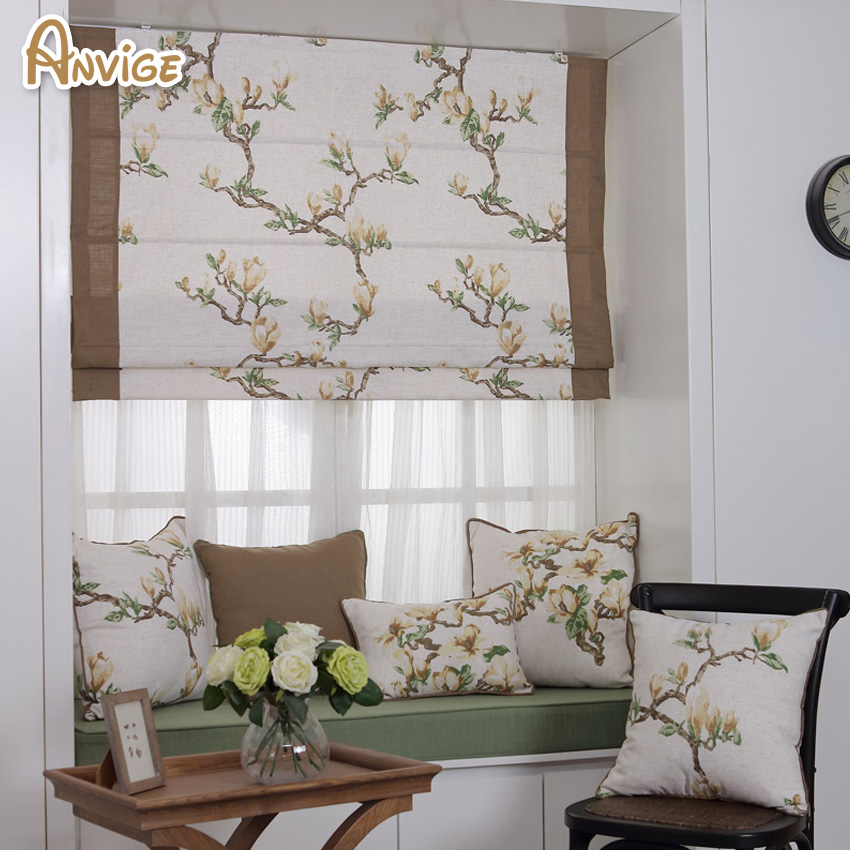 Natural Pastoral Style Cotton Fabric Roman Blinds Roller
