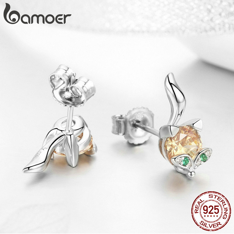 Image 4 - BAMOER Authentic 925 Sterling Silver Cute Crystal Fox Jewelry Set