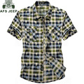 AFS JEEP Plaid Shirt Men 2016 New Brand Summer 100% Cotton Men Shirt Chemise homme Casual Short Sleeve Vetement homme Male Shirt
