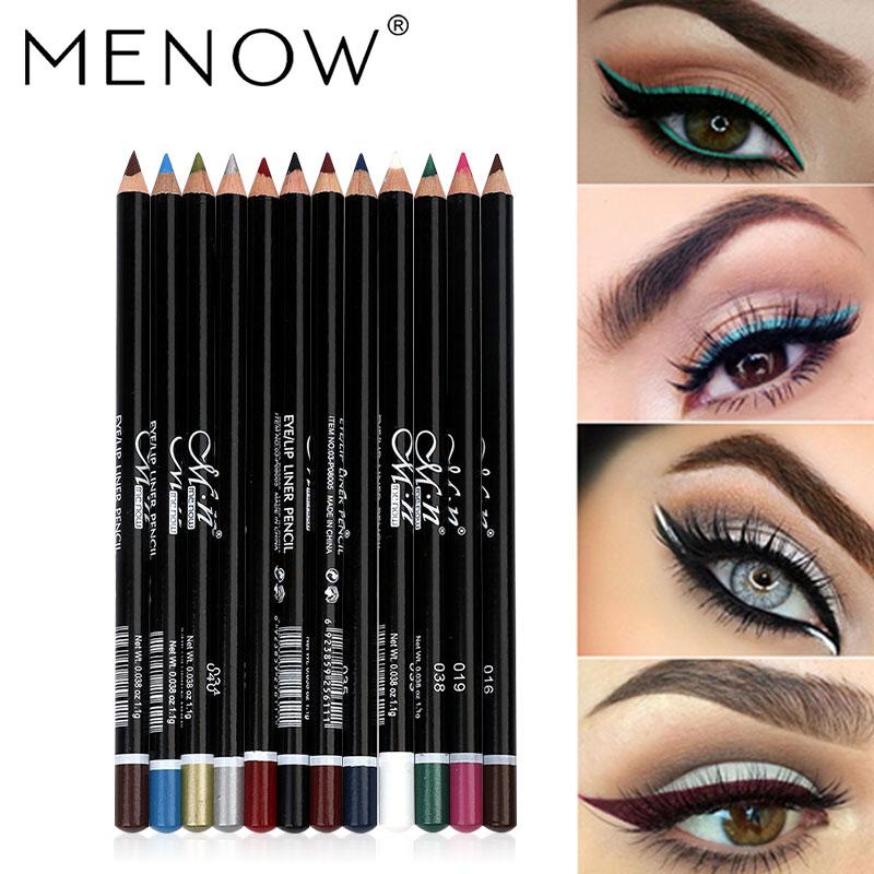 MENOW 12 Colors Eyeliner Makeup Eye Pencil Waterproof Eyebrow Eye Shadow Eye Liner Lip Sticks Cosmetics Eyes Make Up HOT SALE