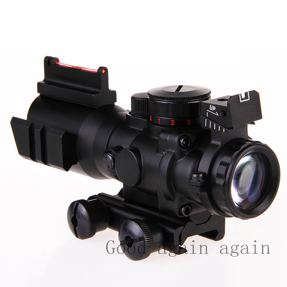 2016 Airsoftsports Gun Riflescope 4x32 Serat Optik Rifle Torch Jaket Arduin Hijau Muda L Scope Reticle Penglihatan Lingkup Airsoft Berburu