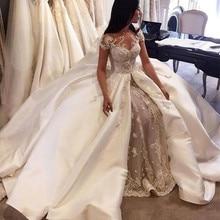 Роскошное бальное платье, свадебные платья, Саудовская Аравия, рукав-крылышко, с аппликацией из кружева атласный верх, свадебные платья, дубайское свадебное платье