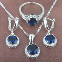 Classic Blue Stone Cubic Zirconia Women's Stamped 925 Silver Jewelry Sets Necklace Pendant Earrings Rings Free Shipping TZ078