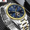 Карнавал Luxury Brand спорт Бизнес Мужчины Наручные Часы Автоматические Механические Часы Военная нержавеющей стали Скелет Часы