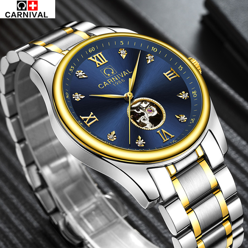 Carnival Luxury Brand sports Business Men Wrist Watches Automatic Mechanical Watch Military stainless steel Skeleton Watches
