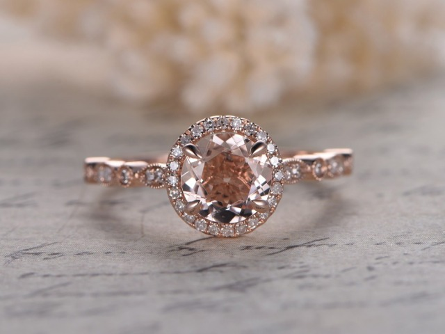 halo pink rings ring diamond engagement cushion moissanite round