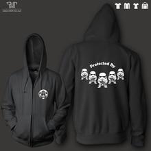 FREE shipping starwars stormtrooper zip-up hoodie men unisex 10.3 oz organic cotton fleece heavy hood high quality comfy warm