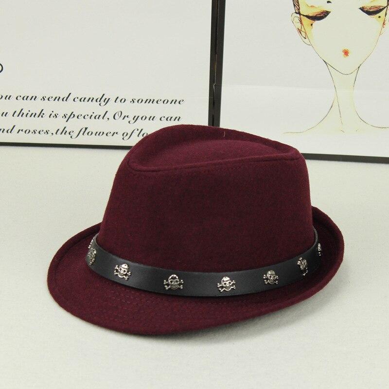 Nuevo Unisex lana cráneo Jazz sombrero de iglesia con ancho de cuero  sombrero Panamá gorra de 24a8fcc45cd