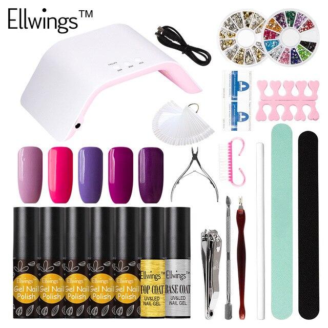 Ellwings Choose 5 Color Gel Nail Polish 24W LED Nail Lamp Dryer Nail ...