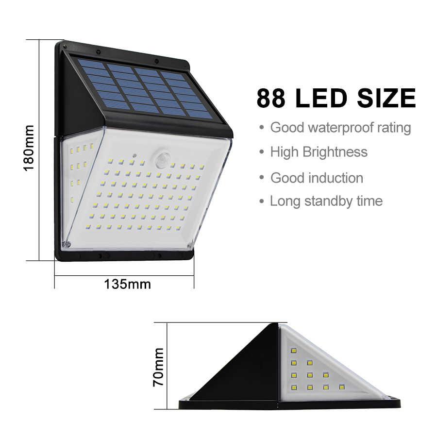 88 светодиодный лампы от солнечной батареи PIR датчик движения Солнечный свет Водонепроницаемый Открытый двора уличный сад настенный светильник с пультом дистанционного управления