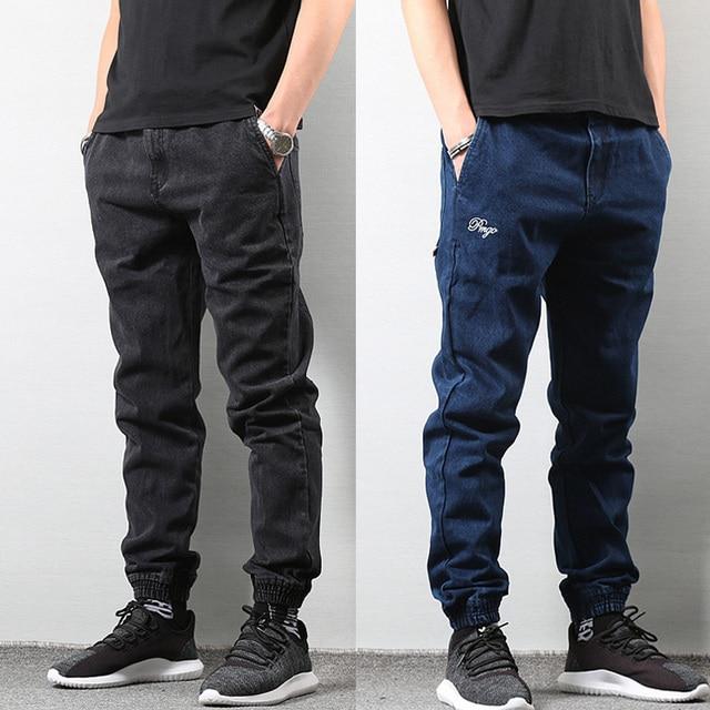 8049cee7dd Estilo japonés de los hombres de la moda Jogger Jeans Color azul negro  Streetwear pantalones Punk