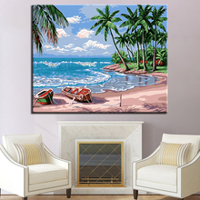 Scenery On The Beach Picture By Numbers DIY Coconut Trees and Ship Painting Kits Hand paited Linen Canvas Modern Decor Wall