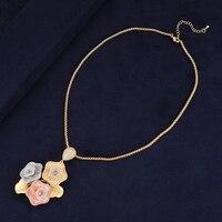 Trendy Dubai Indian Women Bridal Necklace Jewelry Three Flowers Cubic Zirconia Inlaid Necklace Wedding Engagement Wear Geometry