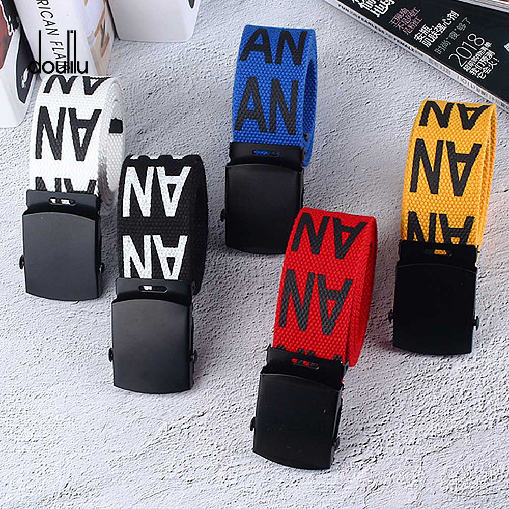 115 cm una impresión Neutral Nylon cinturón de lona hebilla automática cinturón estudiante nuevo color hombres y mujeres cinturones
