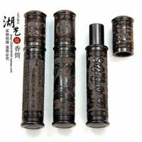 Talla de ébano xiangyun pequeño cilindro de perfume mondadientes extintores tubo para filtro de tabaco dulce bursa regalos de bambú artesanías al por mayor