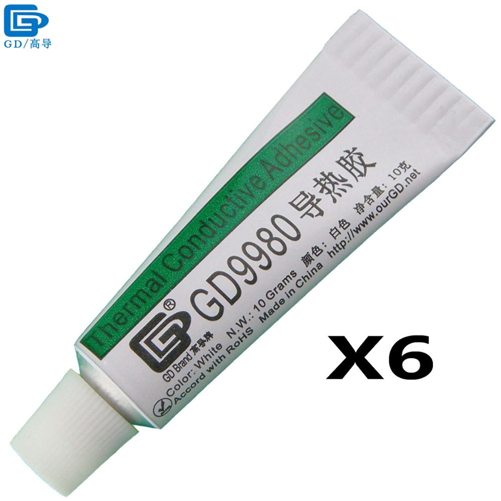 GD Brand Thermally Conductive Adhesive Glue GD9980 Heat Sink Plaster With Adhesive 6 Pieces White Net Weight 10 Grams ST10 tn40x175 s tn40x400 s tn40x250 s tn40x300 s airtactwo axis double bar new air cylinder double shaft double tn series