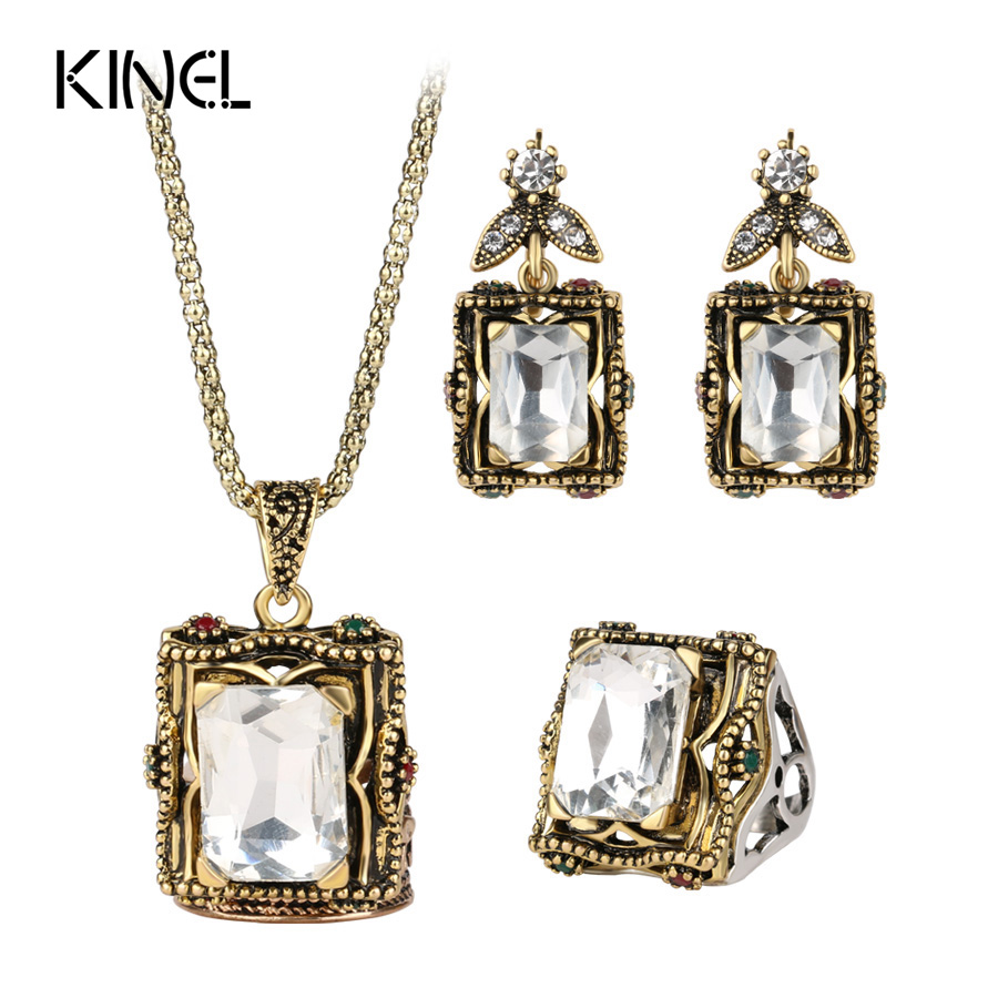 3 pcs Vintage Wedding Jewelry Set 2016 New Fashion Antique Emas Warna Mosaik Kaca Besar Anting-Anting Kalung Untuk Wanita