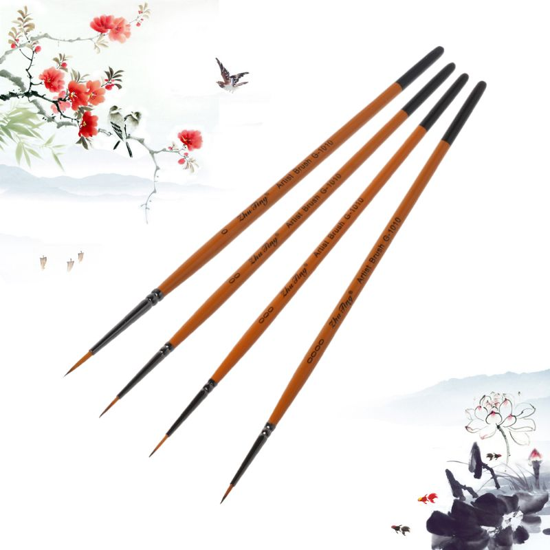 10pcs/set Fine Hand Detail Painted Thin Hook Line Pen Drawing Point Tip Nylon Brush Acrylic Painting Craft Art Supplies