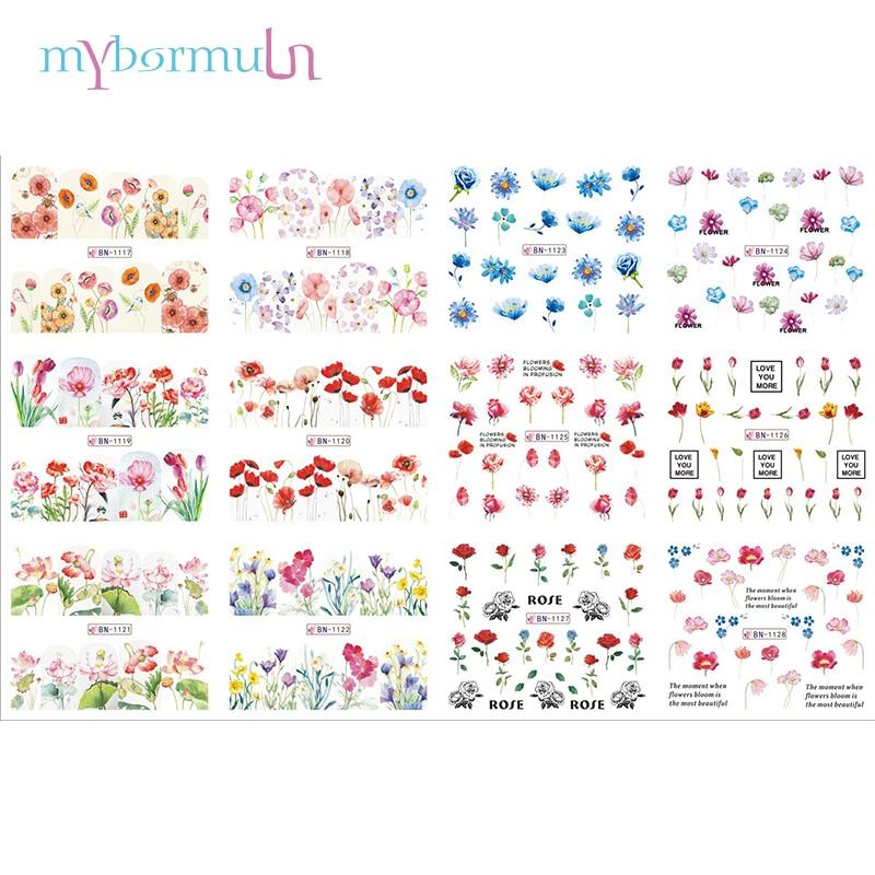 12 Designs/sheet Popular Lotus Rose Nail Stickers Slider Full Cover Water Decal Lily Jasmine Primrose Transfer Decal BN1117-1128
