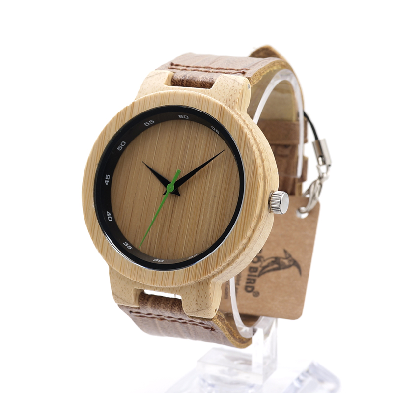 BOBO BIRD Brand Wood Watch Handmade Leather Band Wooden Wristwatch Business Casual Watches for Men and
