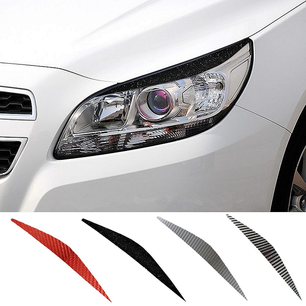 Car Front Head Light Eyebrow Sticker Decorator Carbon Fiber Lamp Eyelid Eye Line Fender Strip For Chevrolet Malibu Car Styling