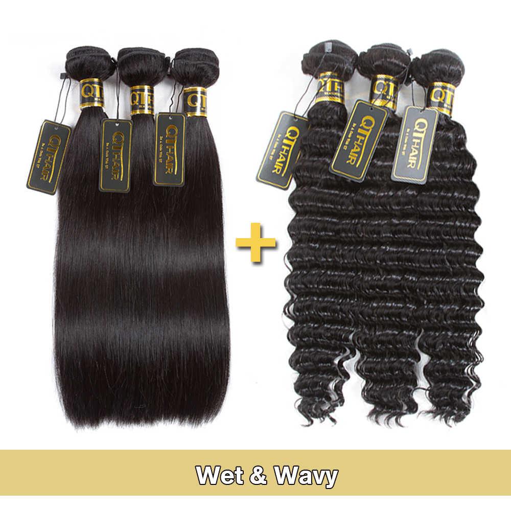 QT Nat En Golvend Haar Bundels Braziliaanse Droom Steil Haar Bundels Zal Diepe Golf Na Wassen 100% Menselijk Haar weave