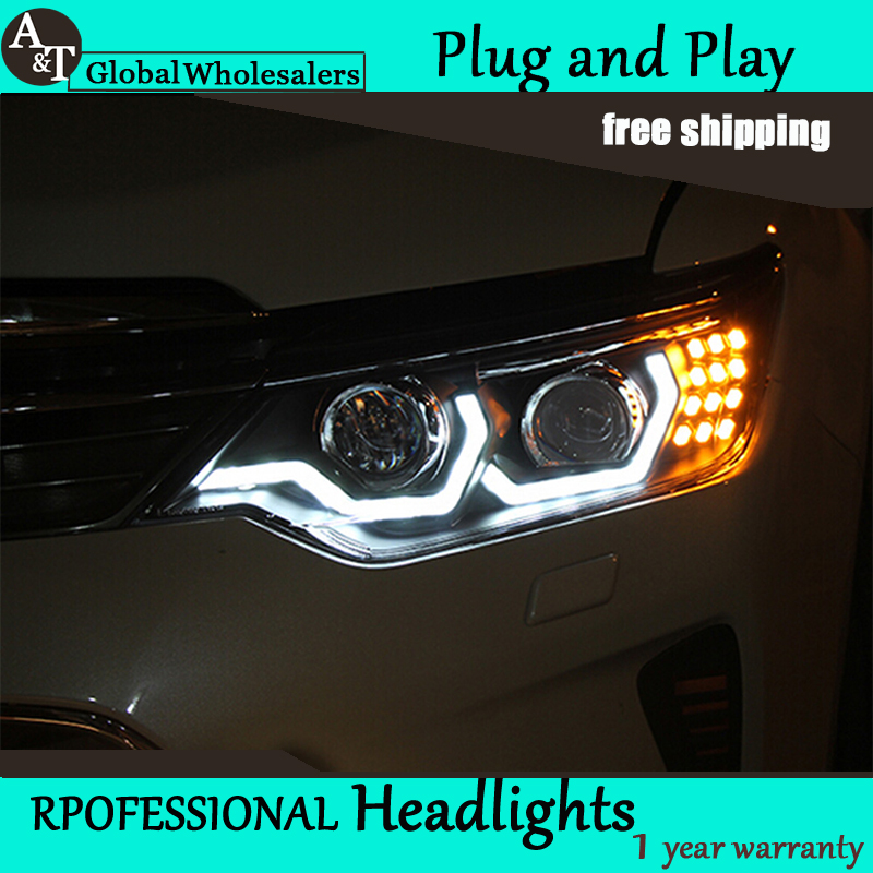 Car Styling for Toyota Camry Headlights 2014-2015 Camry V55 LED Headlight DRL Parking Signal Q5 bi xenon lens HID headlamp headlight usa led halo projector headlights for 2012 2013 2014 toyota camry