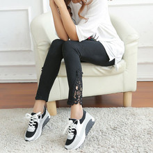 Side Lace Carved Floral Leggings