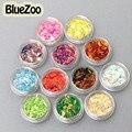 BlueZoo 12 Коробок/много Различные Смешанные Цвета Ногтей Блестит Горный Хрусталь Лошадь Глаз Тип Nail Art Украшения Для Ногтей DIY Красоты